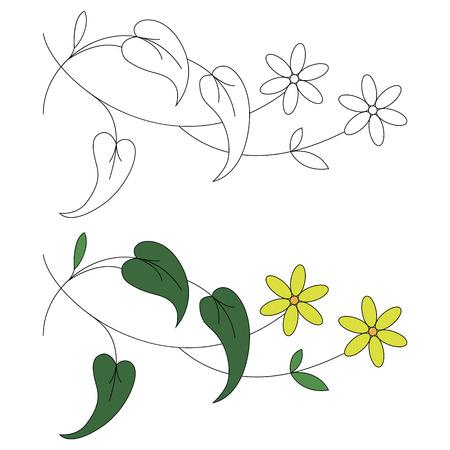 흑백 및 컬러에 꽃 장식