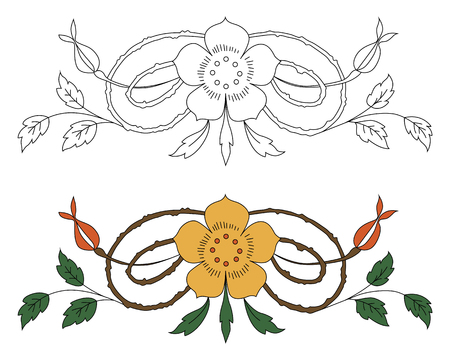 floral ornament in black and white and color