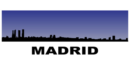 silhouette of madrids skyline on blue background