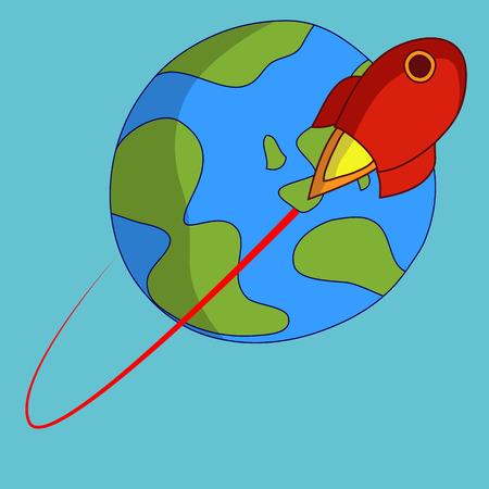 파란색 배경에 지구 궤도 로켓 일러스트