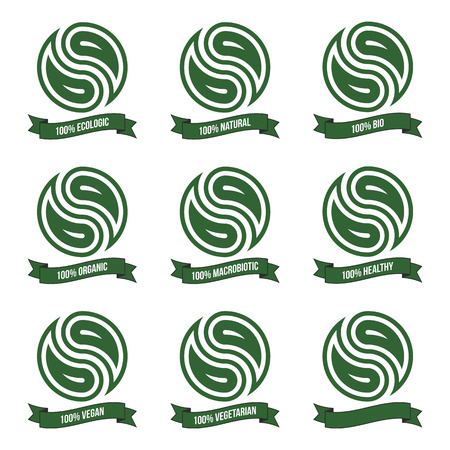set of eco icons with ribbons isolated