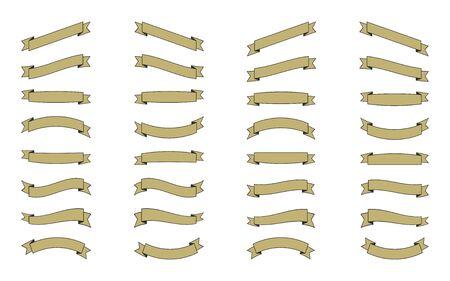 흰색 배경에 고립 된 리본 집합 일러스트