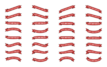 set of isolated christmas ribbons on white background 矢量图像