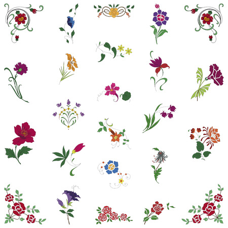 in September of floral ornaments on white background
