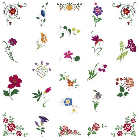 흰색 배경에 꽃 장식품의 9 월 일러스트