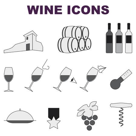 흰색 배경에 아이콘의 일부 와인 세트