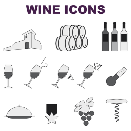 some wine set of icons on white background