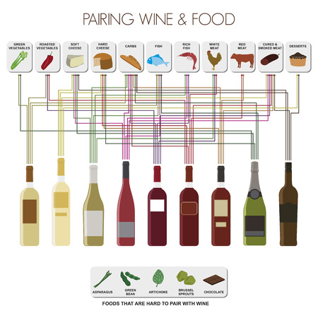 wine and food: Infographics of pairing food and wines The most common