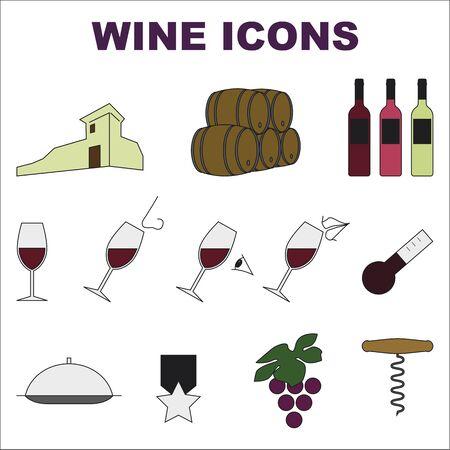 흰색 배경에 색이 지정 된 아이콘 집합 와인 일러스트