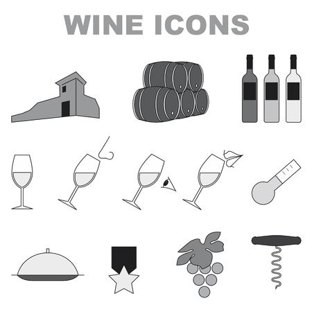 흰색 배경에 흑백 아이콘 집합 와인
