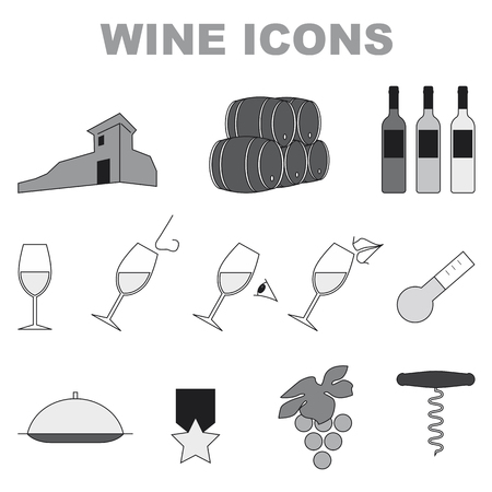 set of black and white icons on white background wine