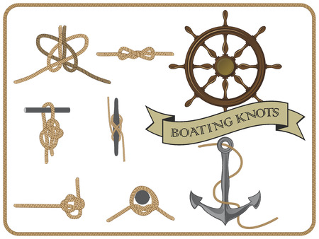 isolated set of boating knots on white background 矢量图像