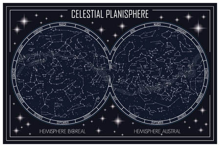 Map of the celestial planisphere and the constellations 免版税图像 - 79572926