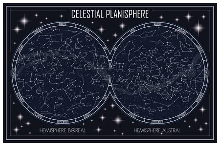 Mapa del planisferio celeste y las constelaciones Foto de archivo - 79572926