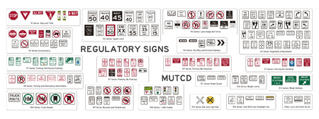 Set of isolated regulatory signs of USA
