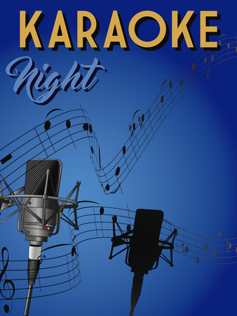 Poster for karaoke bar with microphone and score on gradient background