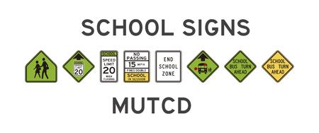 미국의 고립 된 학교 표지판 세트 일러스트