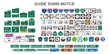Set of isolated guide signs of usa Ilustrace
