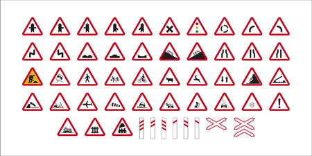set of isolated spanish danger traffic signs  イラスト・ベクター素材