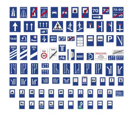 Conjunto de señales de tráfico de indicación española aislada Foto de archivo - 88338024
