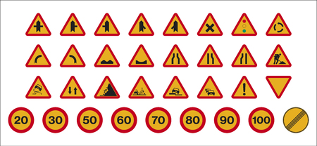 Set of isolated Spanish works traffic signs