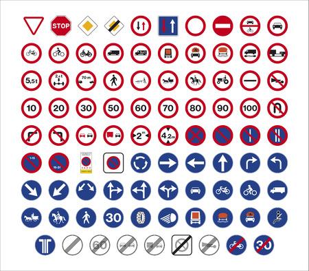 Set of isolated Spanish regulation traffic signs 矢量图像