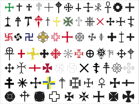 白い背景にいくつかの十字架のセット 写真素材 - 94620018
