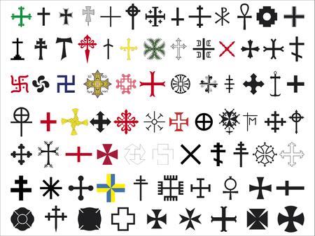 set of several crosses on white background