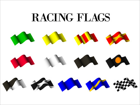 set of racing flags on white background