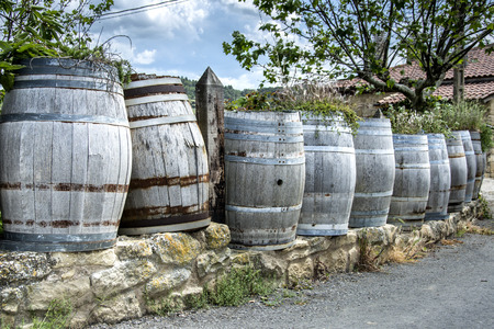decoration with barrels in a small town in the north of spain