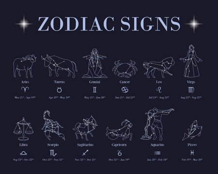Horoscope with zodiac signs and constellations on blue background. 写真素材 - 97623903