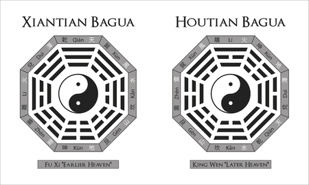 two different versions of the bagua used in feng shui Ilustrace