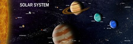 complete solar system with planets and the most important moons and asteroids 写真素材