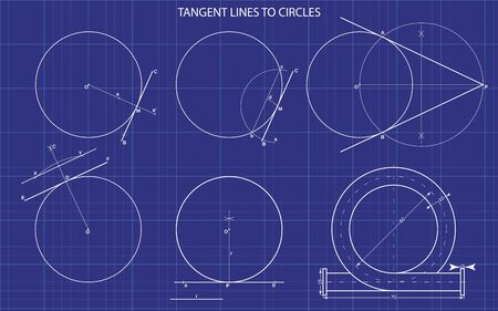 tangent lines to circles on technical background