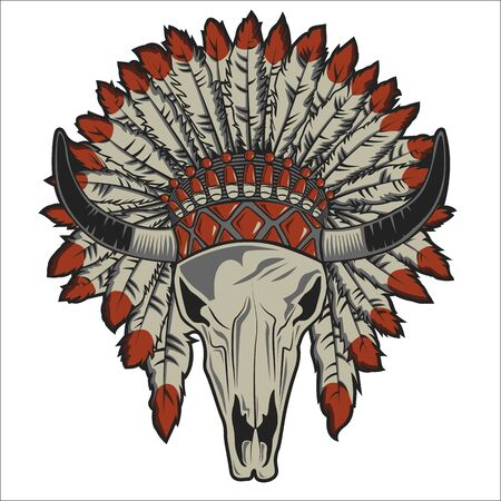 cow skull with indian headdress on white background