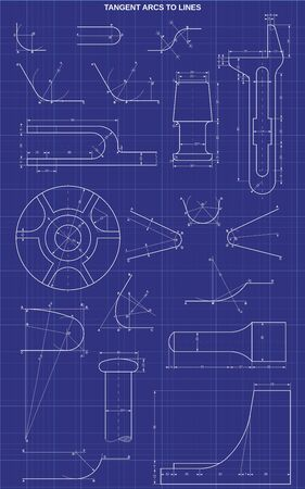 tangent arcs to lines on technic background Illustration