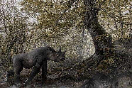futuristic scene of a rhino gorilla in a forest