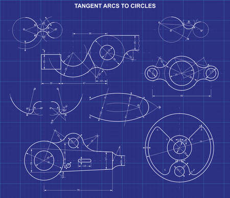 tangent arcs to circles on technic background  イラスト・ベクター素材