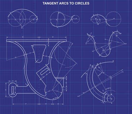 tangent arcs to circles on technic background 矢量图像