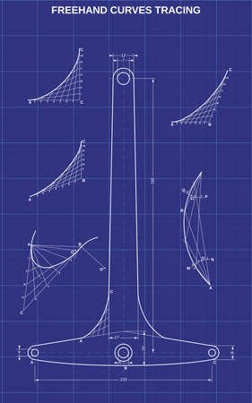 freehand parabolic curves tracing on technic background
