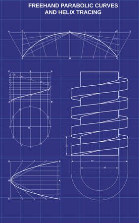 freehand parabolic curves and helix tracing on technic background