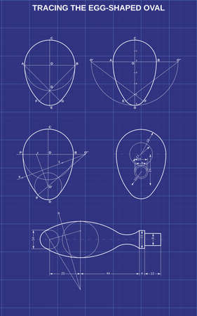 tracing the egg shaped oval on technic background 矢量图像