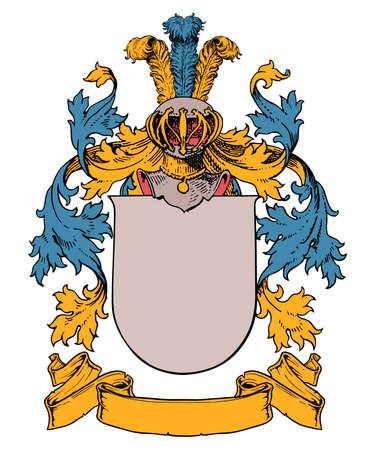 isolated and customizable coat of arms on white background 矢量图像