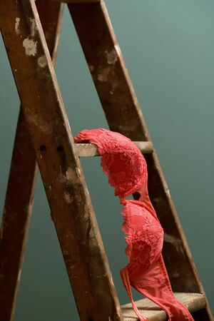 A bright pink bra sits on an old rustic ladder standing against a green wall photo