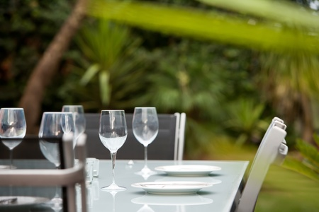 A table setting for outdoor entertaining