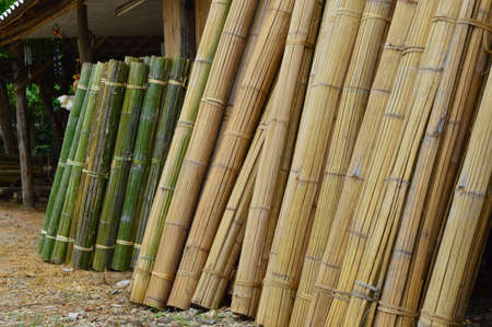 crafted: Bamboo mats ready to buy presented at the roadside in Asia