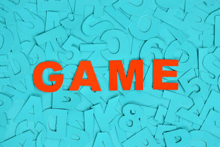 빨간 글씨로 쓰여진 Game이라는 단어 스톡 콘텐츠