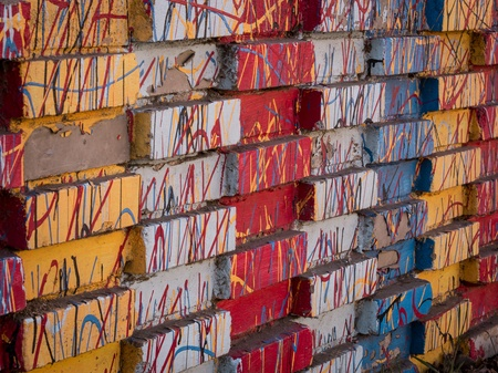 colorfully: Colorfully painted bricks Stock Photo