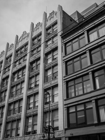 repurpose: Old and new buildings sit side by side Stock Photo