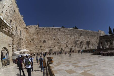 The western wall of the temple. Historical places of the planet Stock Photo